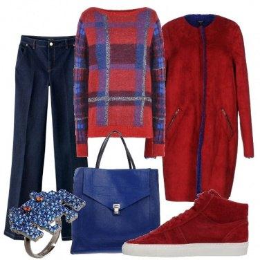 Outfit Passeggiata in rosso e bluette