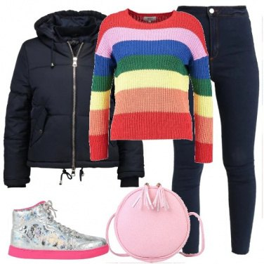 Outfit Un arcobaleno nel maglioncino