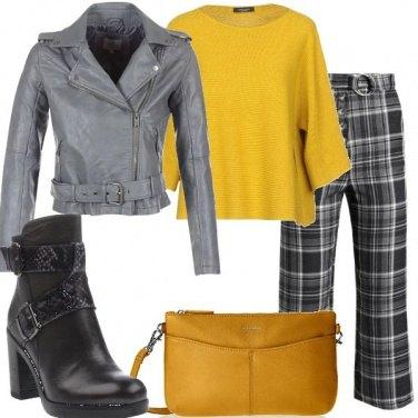 Outfit Quadri e ecopelle