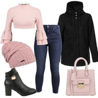 Outfit Petite in rosa e nero