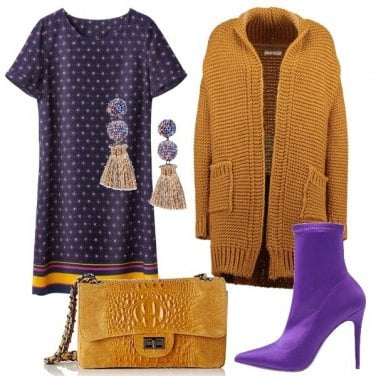 Outfit Viola ed ocra