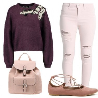 Outfit Rosa e burgundy
