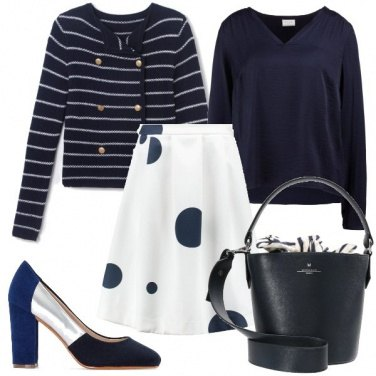 Outfit Mix di pois e righe