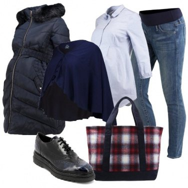 Outfit La shopping bag a scacchi