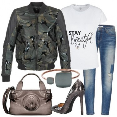 Outfit Bomber camouflage e minibag