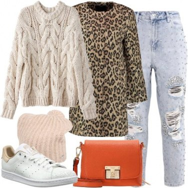 Outfit Cappotto animalier con le sneakers