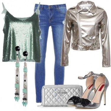 Outfit Verde e argento per la discoteca