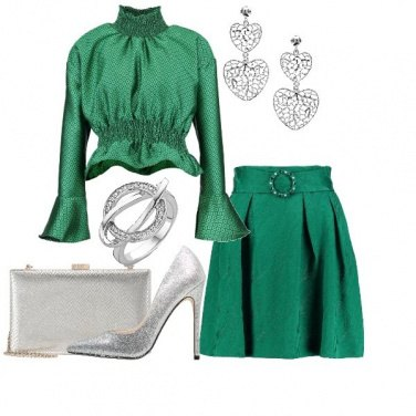 Outfit Chic in verde e silver