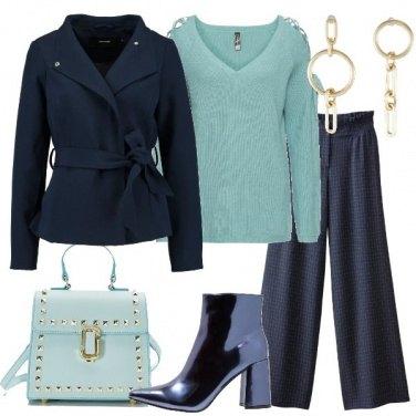 Outfit Pantalone blu a scacchi