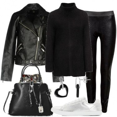 Outfit Chiodo e sneakers