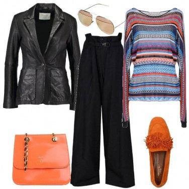 Outfit La maglia a righe multicolore