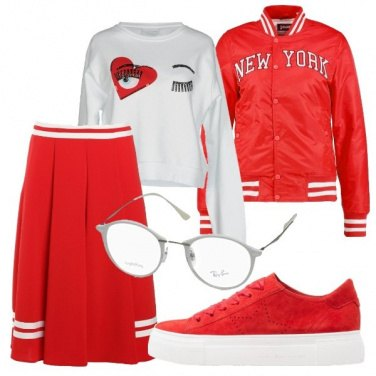 Outfit Sporty in bianco e rosso