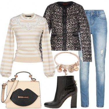 Outfit Righe e leopardo