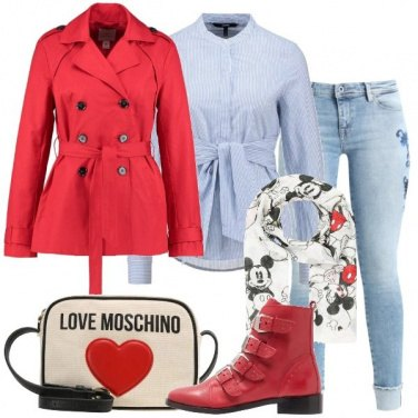 Outfit Trench rosso e jeans