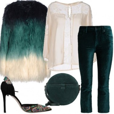 Outfit Pelliccia ecologica multicolore