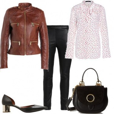 Outfit Tacco e giacca in pelle