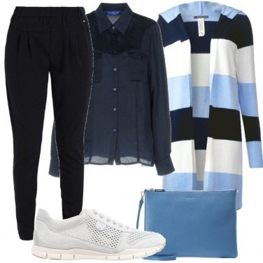 Outfit Righe azzurre