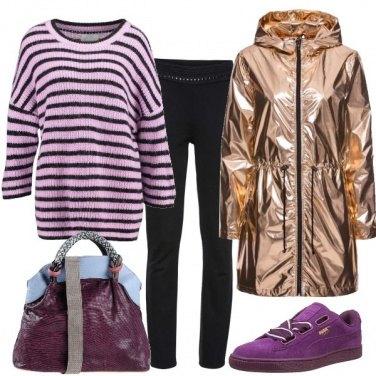Outfit Il parka metallizzato