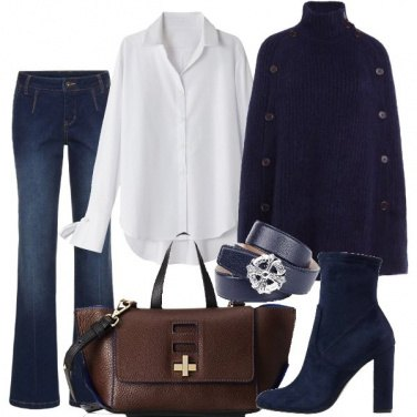 Outfit Chic in blue bianco