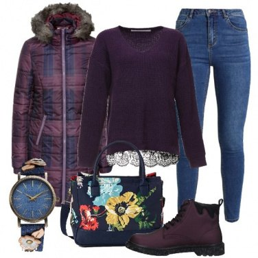 Outfit Pullover con orlo in pizzo