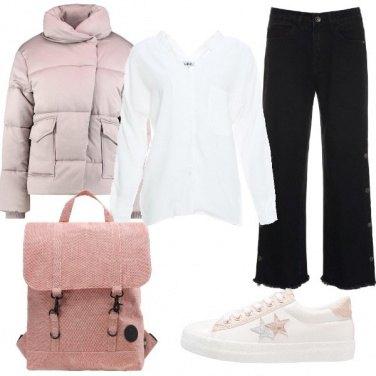 Outfit Bianco rosa e nero