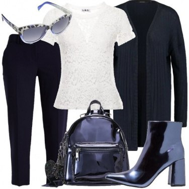Outfit Pizzo e blu