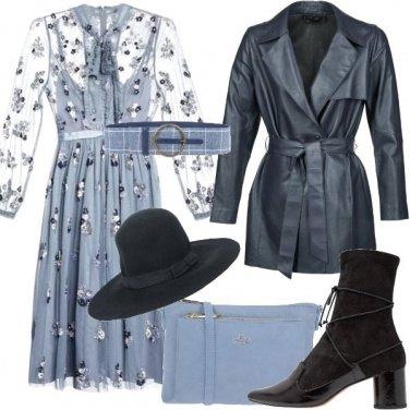 Outfit Bon ton floreale e giacca in pelle