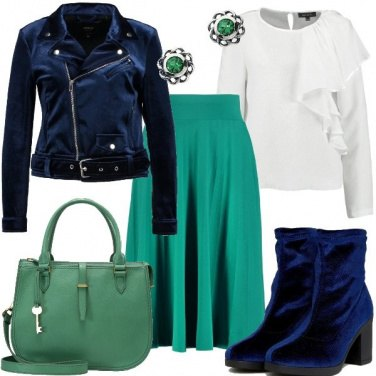 Outfit Chiodo in velluto blu