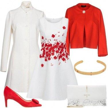 Outfit Bon ton in bianco e rosso
