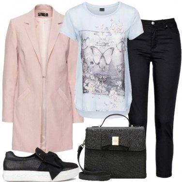 Outfit Blazer lungo e t-shirt