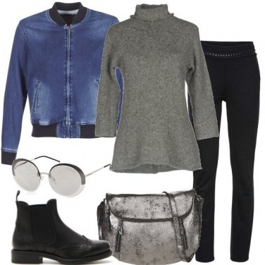 Outfit Bomber e dolcevita