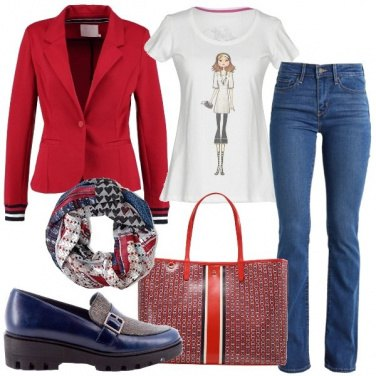 Outfit Righe blu e rosse