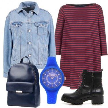 Outfit Abitino rigato e giacca denim