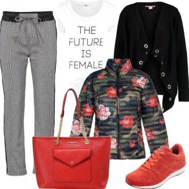 Outfit Fiori e quadri jacquard