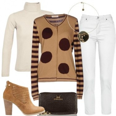 Outfit Il cardigan con i pois