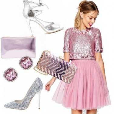 Outfit Serate scintillanti pink e argento!