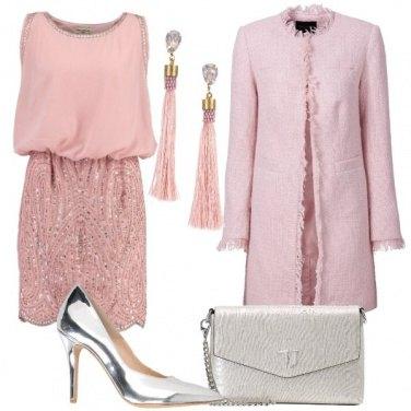 Outfit Cerimonia in rosa e argento