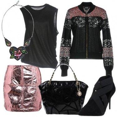 Outfit Minigonna rosa metallico