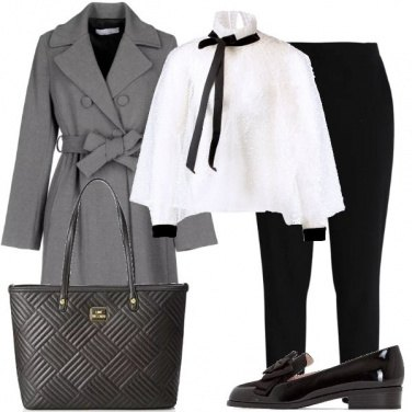 Outfit Camicia bianca con dettagli neri