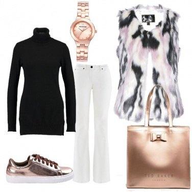 Outfit Nero bianco e oro