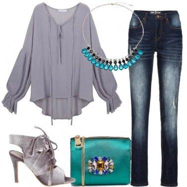 Outfit I sandali di velluto grigio