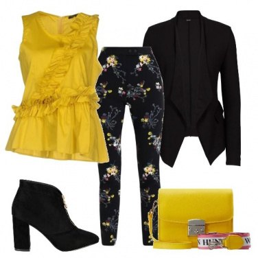 Outfit Il top giallo con le rouches