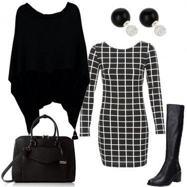 Outfit Quadri in bianco nero