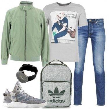 Outfit Grigi e verdi