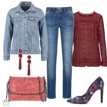 Outfit Jeans e rosso