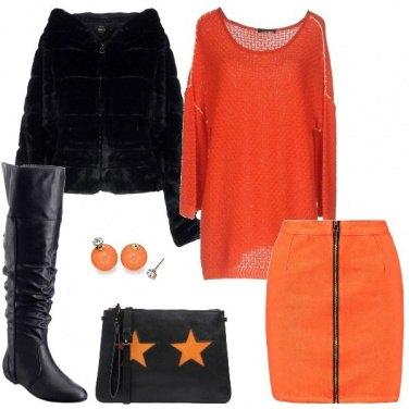 Outfit La mini di jeans arancio