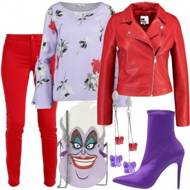 Outfit Rosso e viola