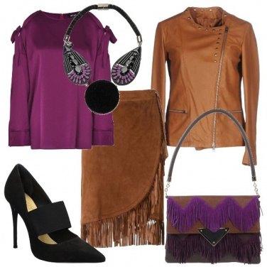 Outfit Viola e marrone