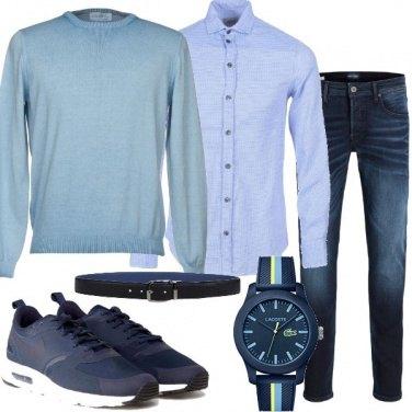 Outfit Casual nei toni del blu