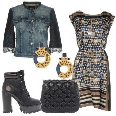 Outfit Giacchetto jeans con maniche di pizzo